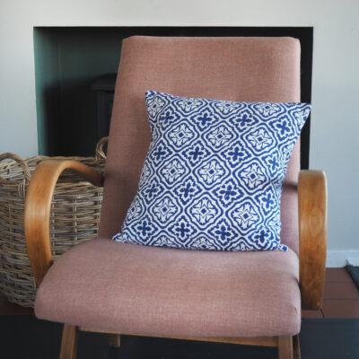 hand block printed yogipod blue scatter cushion