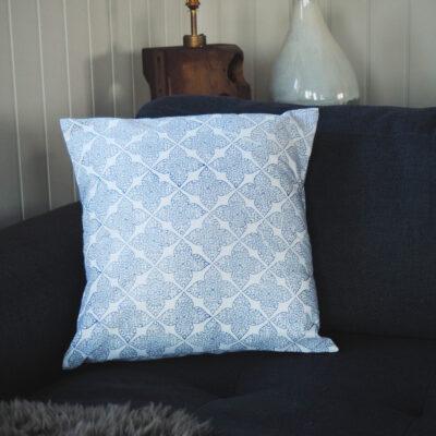 hand block printed yogipod blue flower scatter cushion