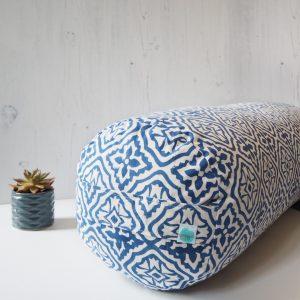 Yogipod Block Printed Buckwheat Bolster Blue