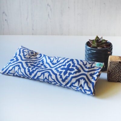 block printed eye pillow for yoga - blue tiled lattice Yogipod