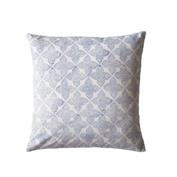 yogipod hand printed scatter cushion blue filigree flower