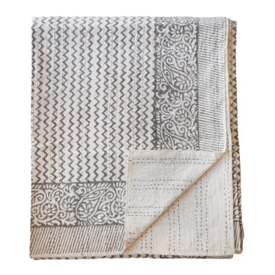 yogipod hand block printed kantha bed throw