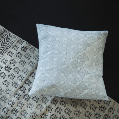 hand block printed flower grey cushion Yogipod