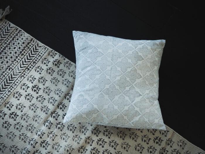 hand block printed flower grey cushion Yogipod