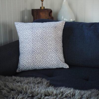 hand block printed grey scatter cushion Yogipod