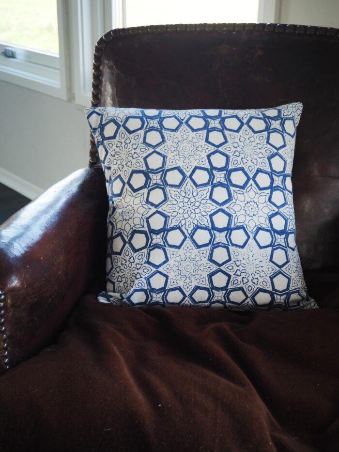 hand block printed scatter cushion blue fretwork design Yogipod