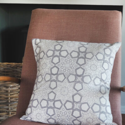 hand block printed scatter cushion grey fretwork Yogipod