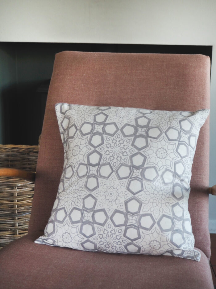 hand block printed scatter cushion grey fretwork Yogipod