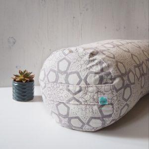 Block Printed Buckwheat Yoga Bolster Yogipod Grey