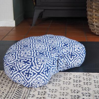 block printed blue crescent meditation cushion