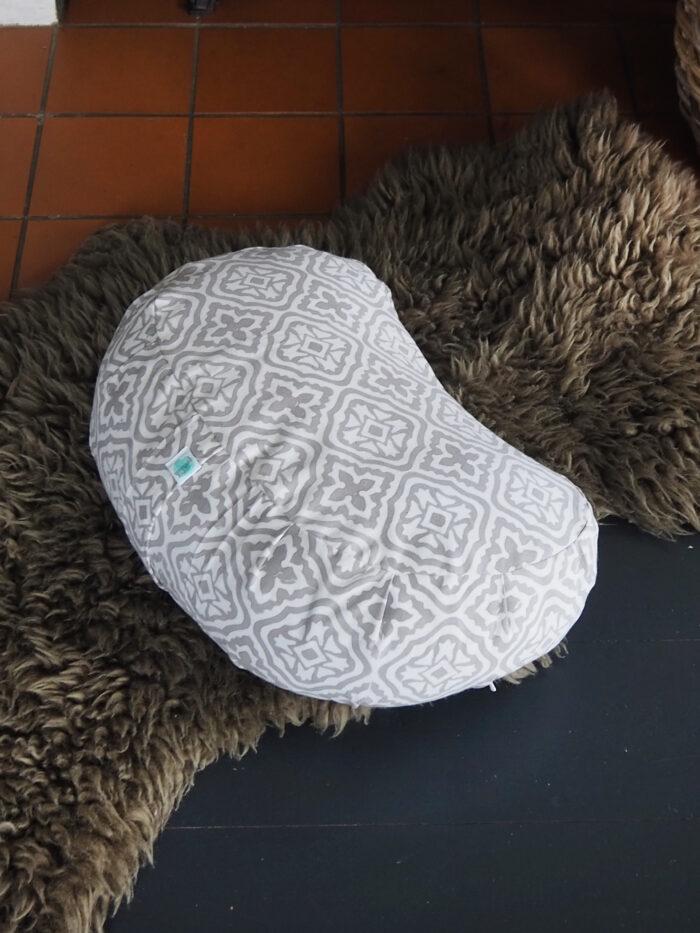 grey block printed meditation cushion