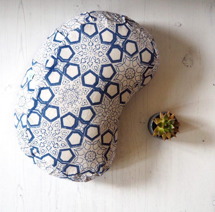 yogipod meditation cushion blue block printed