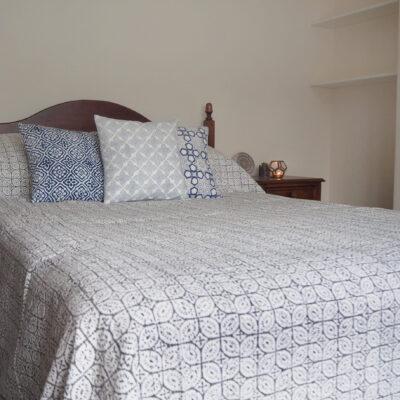 hand block printed geometric leaf kantha bed throw grey