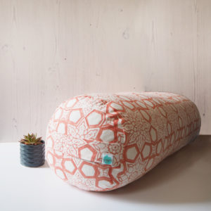 yogipod buckwheat bolster block printed pink
