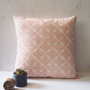 Yogipod scatter cushion pink block printed