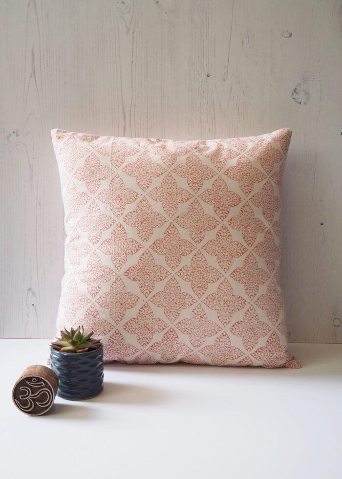Yogipod scatter cushion pink block printed