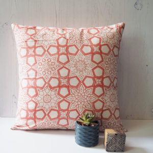 Yogipod scatter cushion block printed pink
