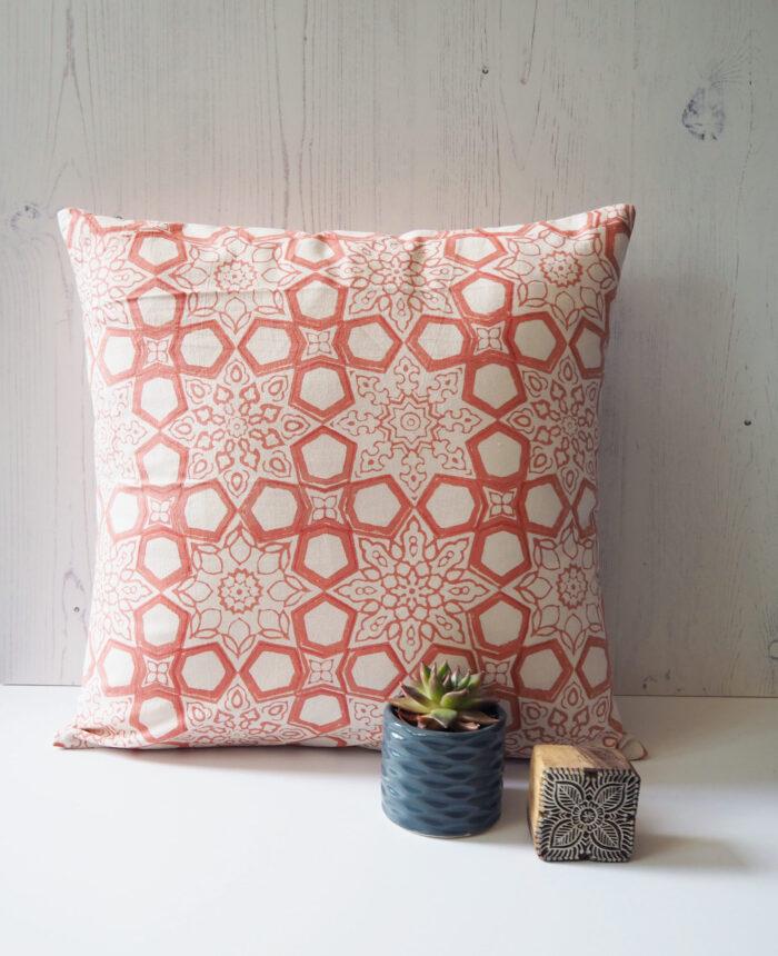 Yogipod scatter cushion block printed pink