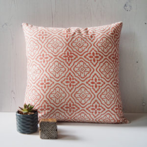Yogipod scatter cushion block printed pink tiled lattice