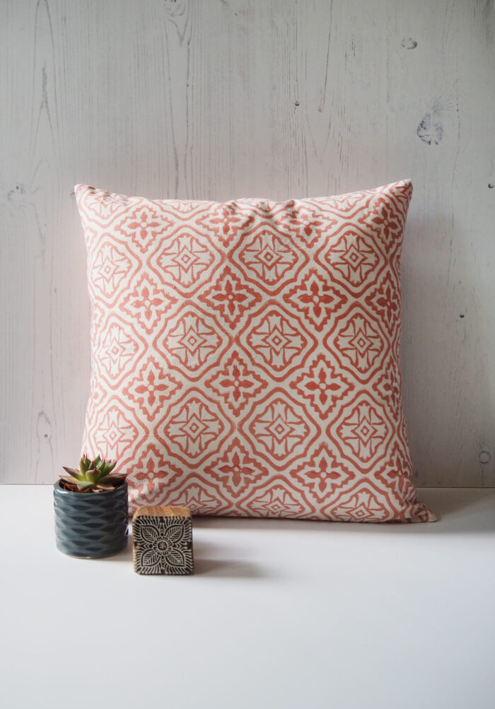 Yogipod scatter cushion block printed pink tiled lattice