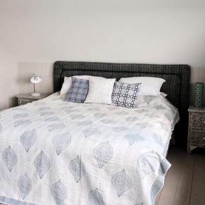 hand block printed blue kantha bed throw