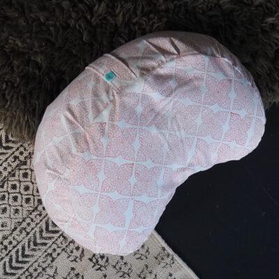 hand block printed pink crescent shaped buckwheat meditation cushion