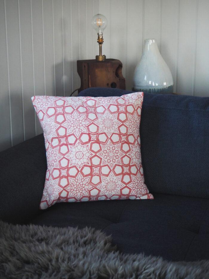 hand block printed sofa cushion coral pink Yogipod