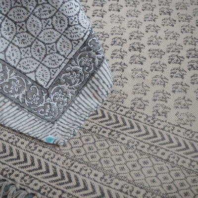 Yogipod block printed rug grey dhurrie