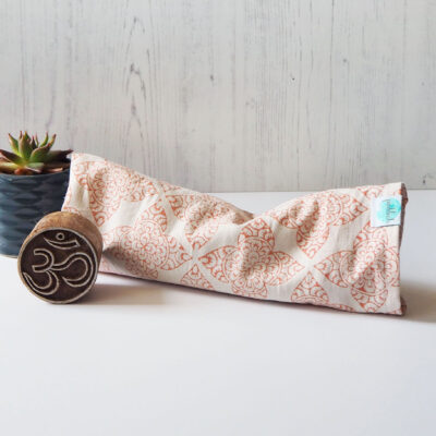 yogipod eye pillow pink block printed pattern