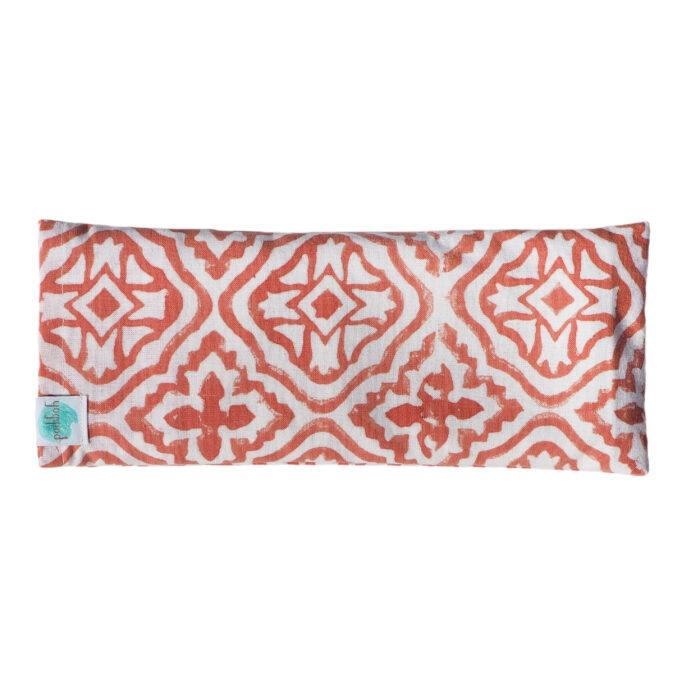 hand block printed yoga eye pillow tiled lattice pink Yogipod