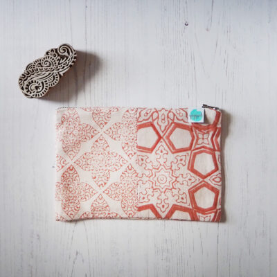 zero waste block printed pouch bag