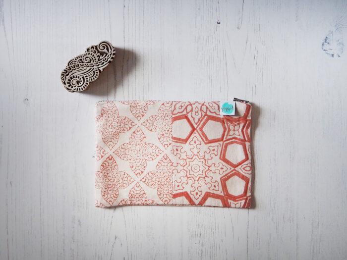 zero waste block printed pouch bag