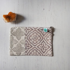 block printed pouch bag