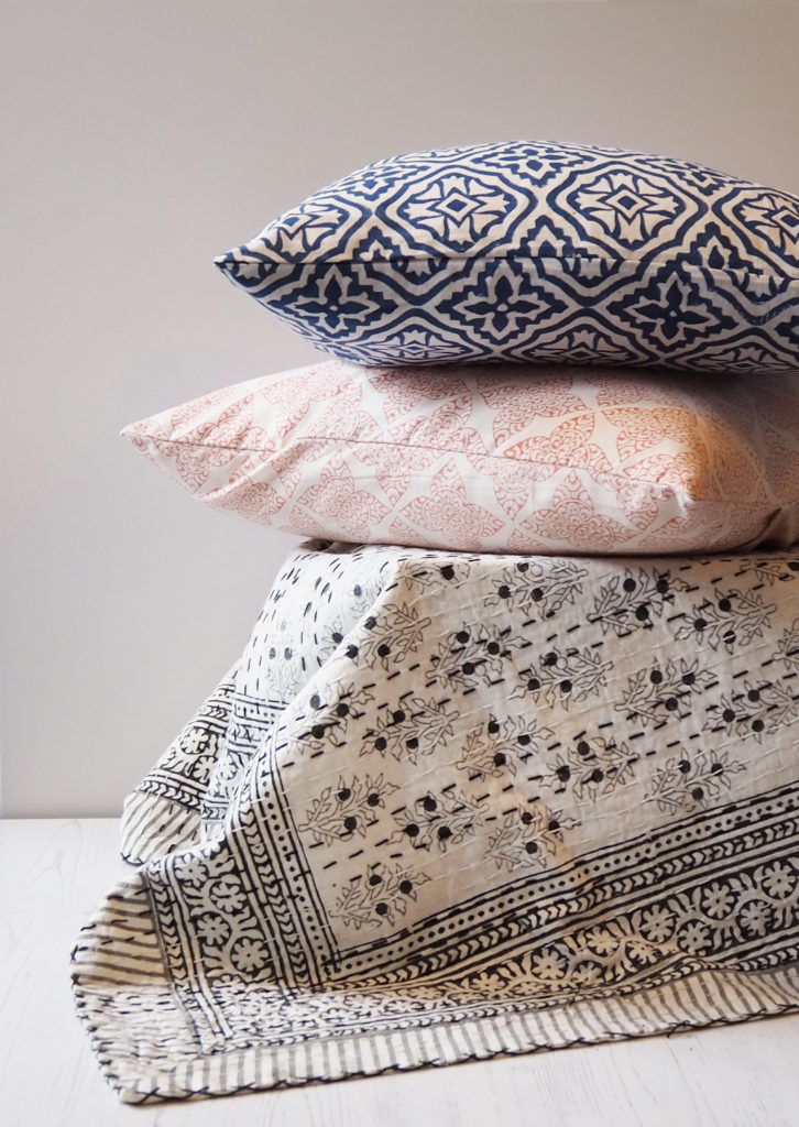 block printed cushions and bed throw