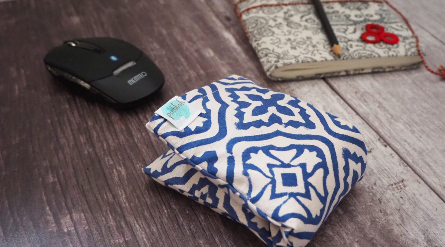 eye pillow being used as wrist support