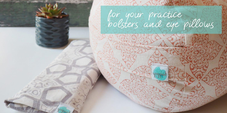 printed yoga bolster and eye pillow