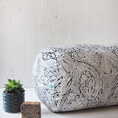 buckwheat yoga bolster, marble print in graphite