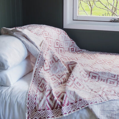hand block printed terracotta pink hand stitched kantha bed throw
