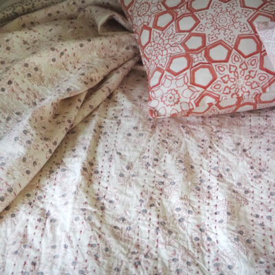 hand block printed jaipur pink botanic bed throw