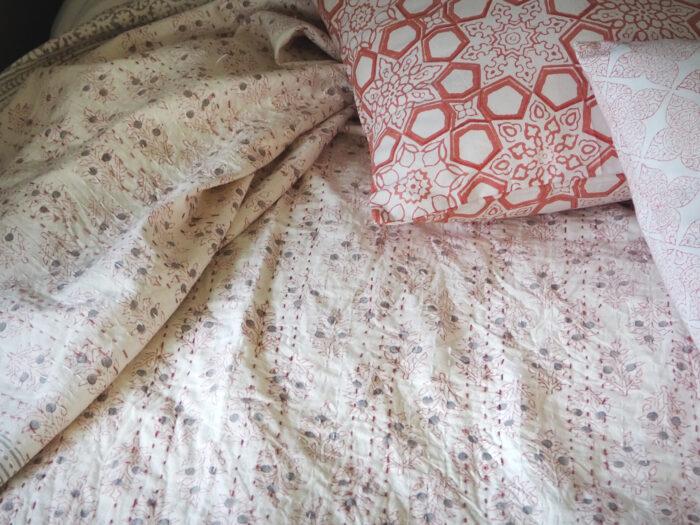 hand block printed jaipur pink botanic bed throw