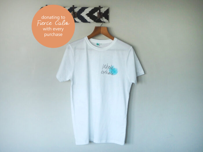 hand screen printed inhale exhale yoga t-shirt donating to Fierce Calm