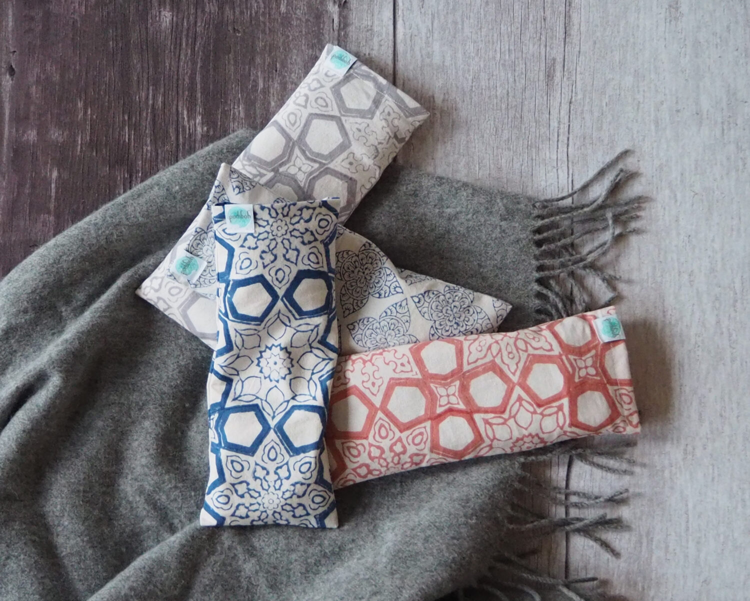 a collection of hand block printed Yogipod eye pillows - discover how eye pillows help you to relax
